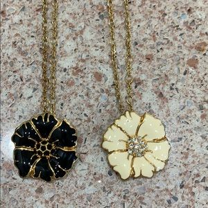 J. Crew gold chain and flower necklaces